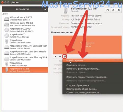 Как отформатировать флешку после linux