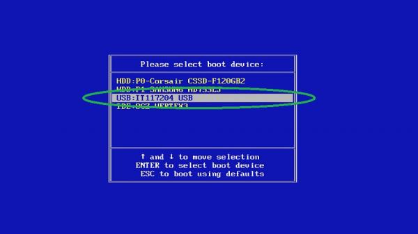 Загрузка ОС с USB