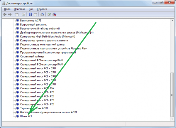 Шина PCI в Диспетчере устройств